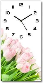 Ceas din sticlă dreptunghiular vertical Lalele roz