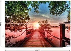 Fototapet GLIX - Lake Pier Red Sunset + adeziv GRATUIT Tapet nețesute - 254x184 cm