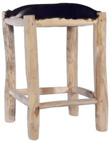 288810 vidaXL Taburet de bar, piele naturală și lemn masiv de tec