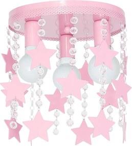 Plafoniera copii ELZA stars 3xE27/60W/230V roz