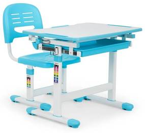 Annika, birou de scris pentru copii, set de două piese, masă, scaun, reglabil pe înălțime, albastru