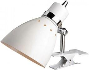 Lampa birou alba/argintie din metal 23 cm Spring Table