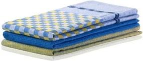 Set 3 prosoape de bucatarie Louie Galben / Albastru Inchis, 50 x 70 cm