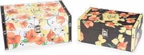 Set 2 casete bijuterii din lemn si piele ecologica decor flori 30 cm x 21 cm x 13 h