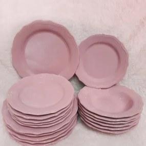 Set 18 farfurii Royal roz din ceramica