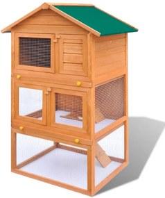 Cușcă Iepuri pentru Exterior Căsuță Animale Mici 3 Nivele din Lemn