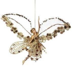 Ornament brad Fairy Brown Gold 19 x 17 cm