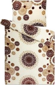 Lenjerie de pat din micropluș MANDALA Vanilie