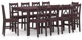 283395 vidaXL Set mobilier de bucătărie, 11 piese, maro închis, lemn de pin