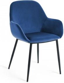 Scaun albastru din catifea Konna La Forma