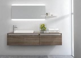 Set de baie cu 6 piese PERTH, Melamina Aluminiu Abs Sticla Rasina Metal, Maro inchis, 170x45x190 cm