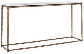 Masa consola Steel, Marmura Fier, Alb Auriu, 76x150x35 cm