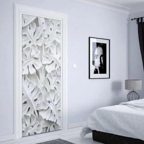 GLIX Tapet netesute pe usă - Vintage 3D Carved Flowers White