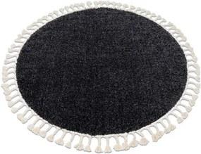 Covor Berber 9000 cerc gri Franjuri shaggy cerc 120 cm