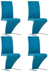 278876 vidaXL Scaune de bucătărie în zigzag 4 buc. albastru piele ecologică