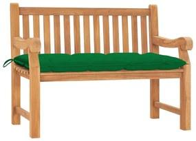 3062975 vidaXL Bancă de grădină cu pernă, 120 cm, lemn masiv tec