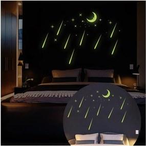 Autocolante fluorescente Ambiance Moon And Falling Stars