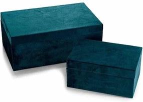 Set 2 casete bijuterii din catifea albastra 24 cm x 15 cm x 10 h