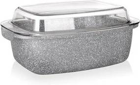 Tavă suprafața antiaderentă Banquet Granite,  32,5 x 21 x 11 cm, 5,7 l, capac de sticlă