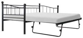285307 vidaXL Cadru de pat, negru, 180x200/90x200 cm, oțel