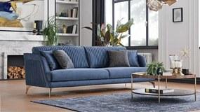 Canapea fixa tapitata cu stofa, 4 locuri Tiera Velvet Albastru, l230xA90xH85 cm