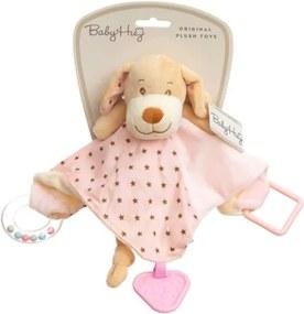 Baby Hug - Catelus roz cu zornaitoare, paturica, inel si jucarie dentitie