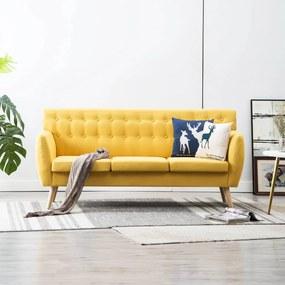 247127 vidaXL Canapea cu 3 locuri, material textil, 172 x 70 x 82 cm, galben