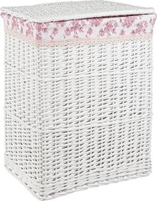 Cos rufe alb roz din rattan alb Cecilia 46 cm x 36 cm x 55 h