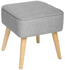 Taburet gri  forma patrata  design clasic  picioare de lemn  inaltime 40 cm