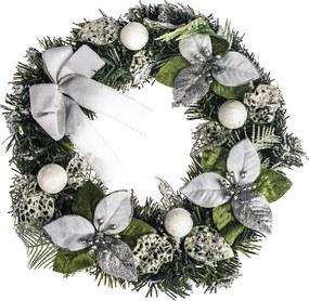 Coroniță Crăciun  cu poinsettia diam. 30 cm, argintiu