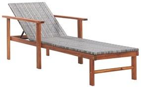 48704 vidaXL Șezlong, gri, poliratan și lemn masiv de acacia