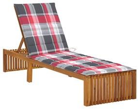 3064162 vidaXL Șezlong cu pernă, lemn masiv de acacia