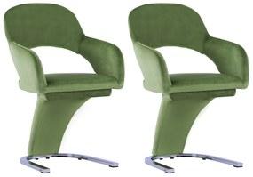 287776 vidaXL Scaune de sufragerie, 2 buc., verde, catifea