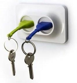 Cuier pentru chei cu breloc Qualy&CO Double Unplug, verde și albastru