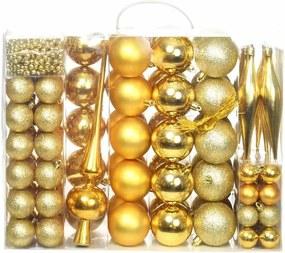 Set ornamente de brad, 112 piese, in 4 culori