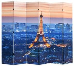 245872 vidaXL Paravan de cameră pliabil, 228 x 170 cm, Parisul noaptea