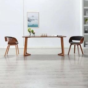 283111 vidaXL Scaun de bucătărie, gri, lemn curbat și material textil
