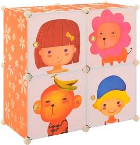 [neu.haus]® Dulap camera copii Orange, 74 x 74 x 37 cm, plastic, multicolor, cu 4 compartimente sistem asamblare DIY