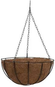 Ghiveci decorativ cu lant, rotund, nuca de cocos, 25x25x12 mm