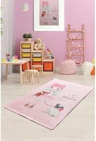 Covor antiderapant pentru copii Chilai Best Friend, 100 x 160 cm, roz