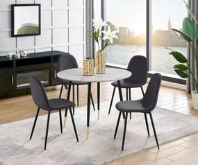 Set de living Monza Eadwine 5 piese ( 4 scaune si o masa rotunda), negru/alb