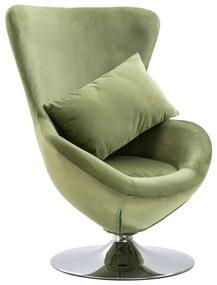 248467 vidaXL Scaun ou rotativ, cu pernă, verde deschis, catifea