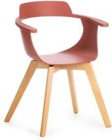 Scaun din plastic cu picioare de lemn Alan Caramiziu, l51xA60xH80 cm