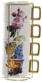 Set 4 cesti cafea, cu flori diferite
