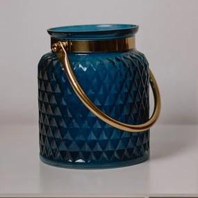 Suport lumanare 17 cm albastru