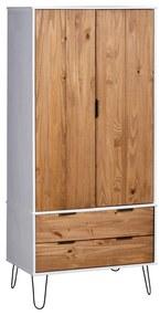 321135 vidaXL Șifonier New York Range, alb și lemn deschis, lemn masiv de pin