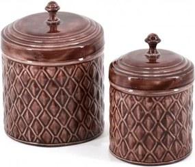 Set 2 recipiente pentru depozitare emailate Silkar Maro, Ø16xH22 cm / Ø13xH20 cm