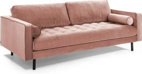 Canapea roz din catifea pentru 3 persoane Debra Kave Home