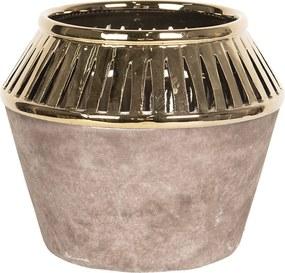 Vaza decorativa ceramica aurie Ø 19 cm x 17 cm