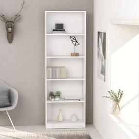 800882 vidaXL Bibliotecă cu 5 rafturi, alb, 60 x 24 x 175 cm, PAL